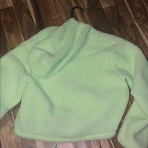 cropped fuzzy sweatshirt